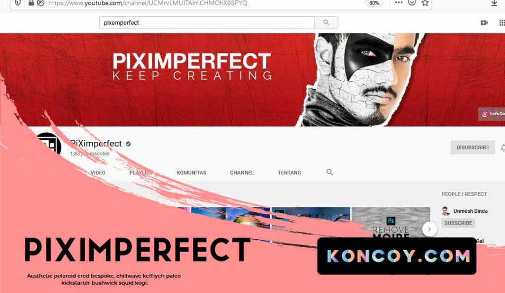 piximperfect salah satu youtube yang membahas tentang adobe photoshop