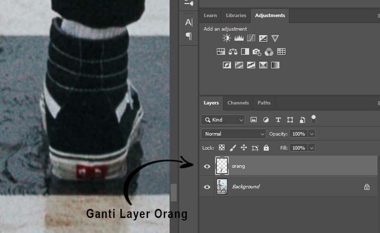 ganti menjadi layer orang pada gambar yang ktia seleksi tadi