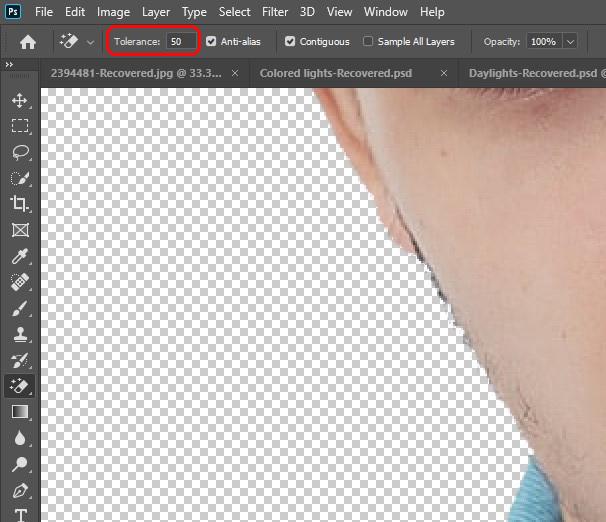 hapus background menggunakan magic eraser tool