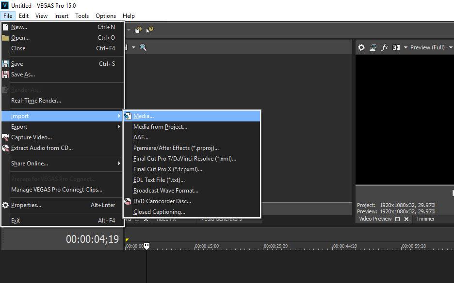 buka file kemudian import lalu media untuk edit foto menjadi video