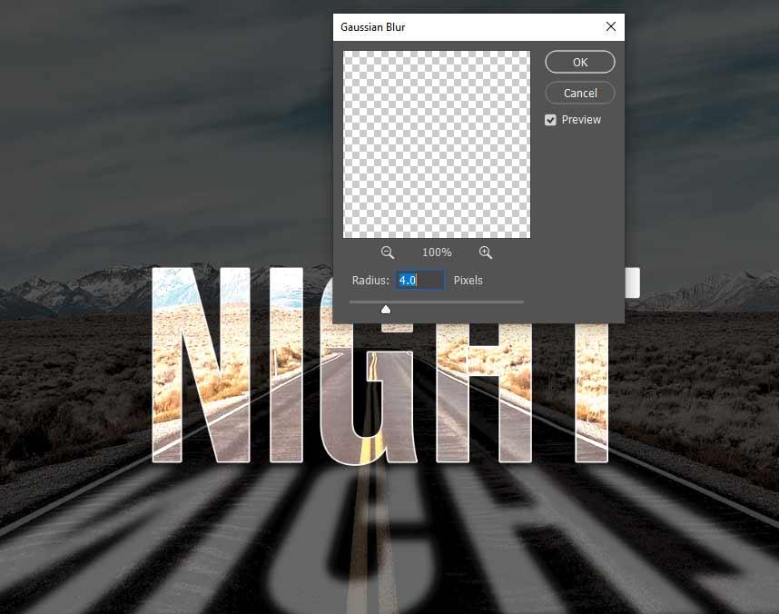 dilayer night copy kita buat jadi blur untuk efek light text effect