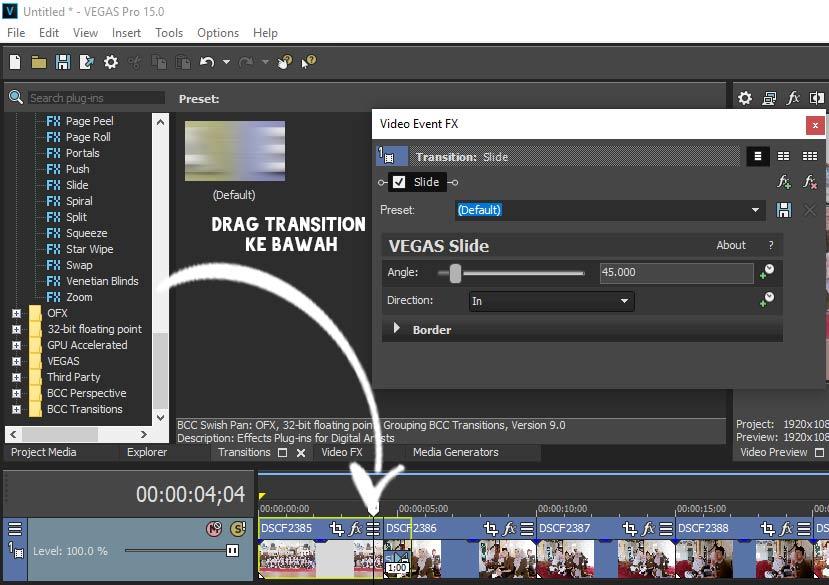 drag transition ke bawah supaya terlihat efek transisi untuk edit foto menjadi video