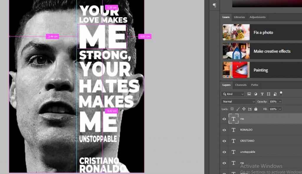 hasil diberi teks merupakan cara membuat poster