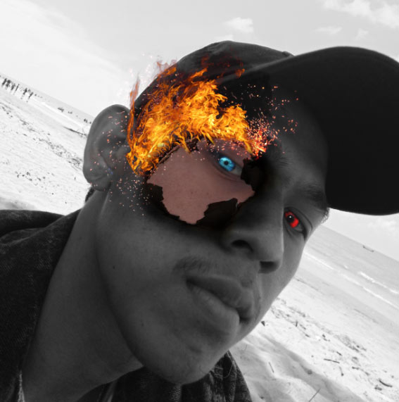 hasil yang kita dapat fire editing face