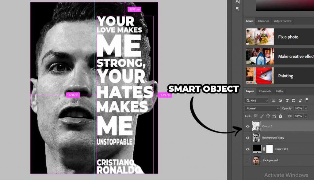 kita berikan teks pad wajah ronaldo untuk cara membuat poster