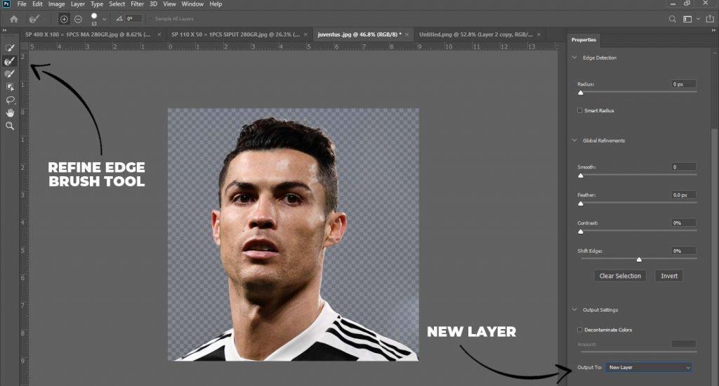 kita select and mask gambar tersebut sehingga membuat layer baru cara membuat poster