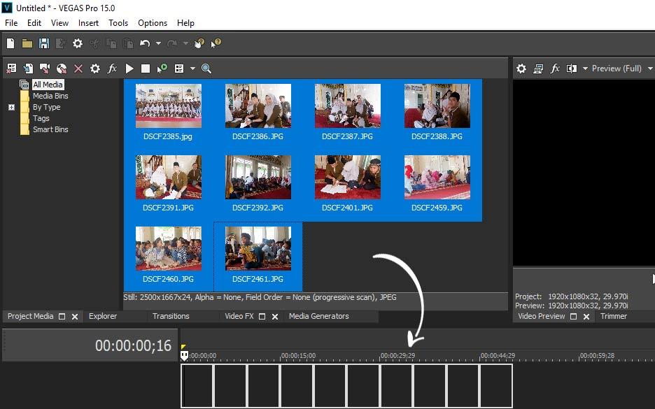 lalu drag foto ke artboard sony vegas cara edit foto menjadi video