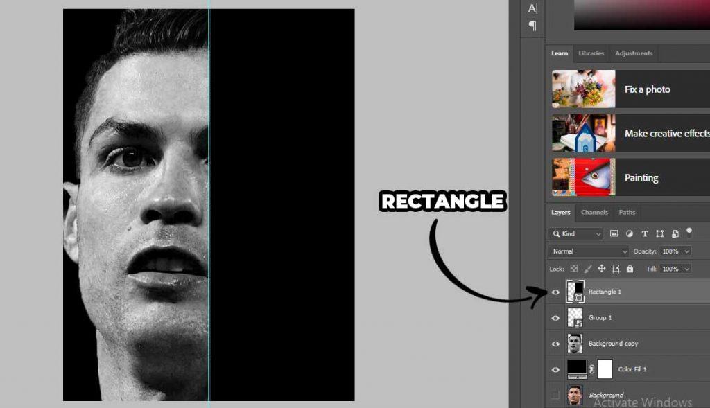 rectangle hitam untuk memblok bagian kanan pada wajah christiano ronaldo tersebut