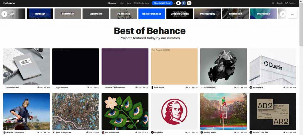 behance merupakan situs desain grafis yang bisa kita gunakan untuk mencari inspirasi desain