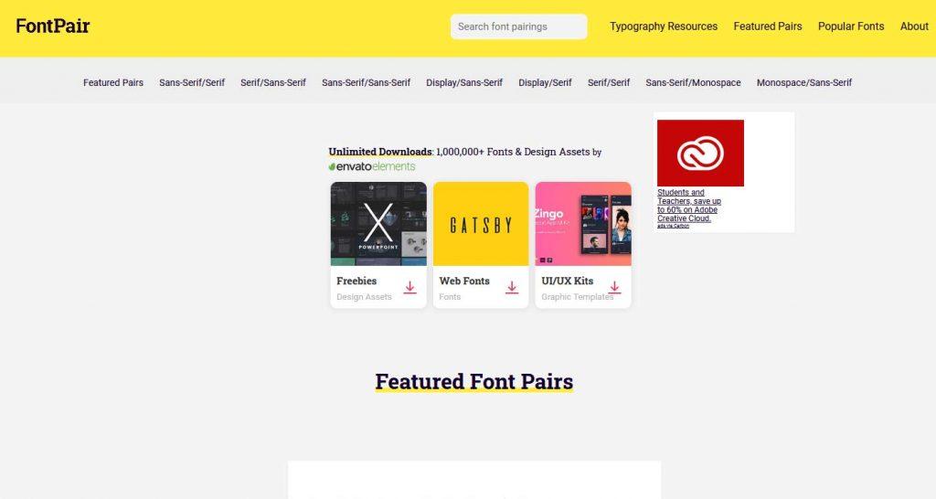 fontpair.co merupakan situs download font terbauk yang bisa dicoba desain grafis