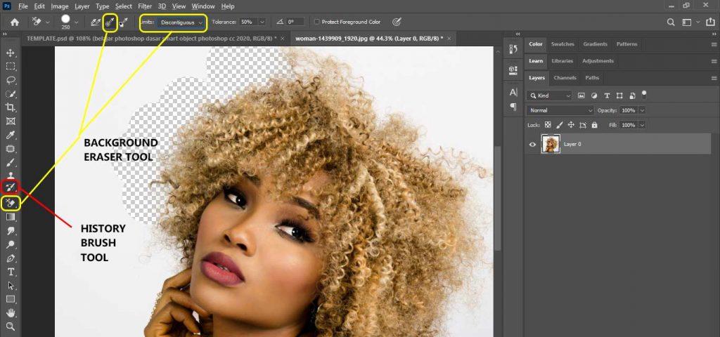 cara seleksi rambut di photoshop cc 2020 dengan background eraser tool