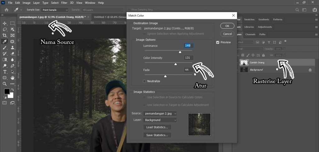 menyamakan warna kulit dan background dengan photoshop dengan match colour