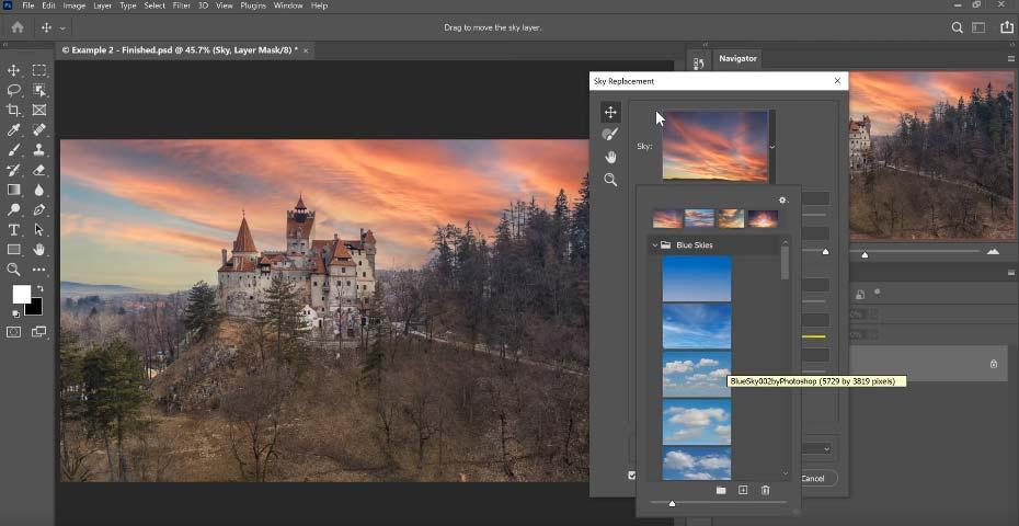 sky replacement merupakan kelebihan photoshop cc 2021 yang bisa kalian gunakan