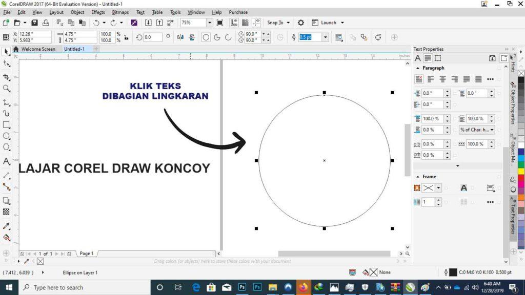 cara membuat tulisan melengkung di corel letakan tekscorel-draw