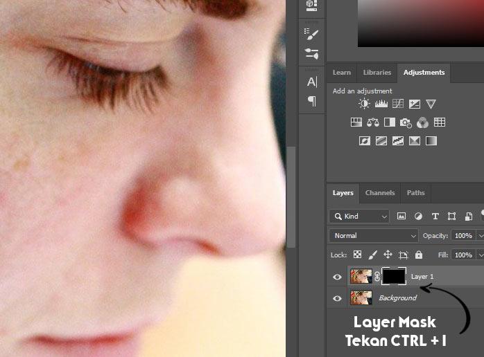 layer mask untuk menyeleksi bagian yang akan terlihat menjadi blur