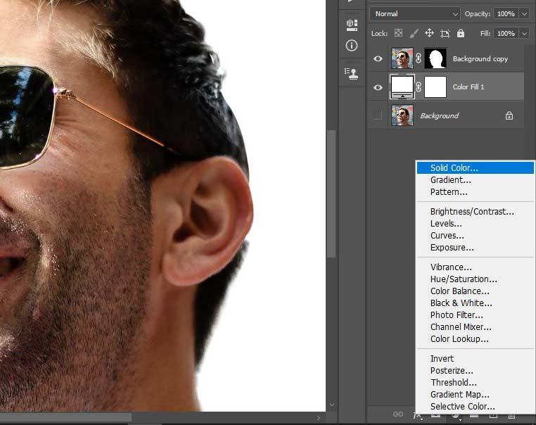 pilih solid colour untuk membuatnya background putih pada fotonya