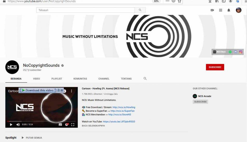 nocopyright merupakan chanel youtube untuk gudang musik backsound youtube gratis
