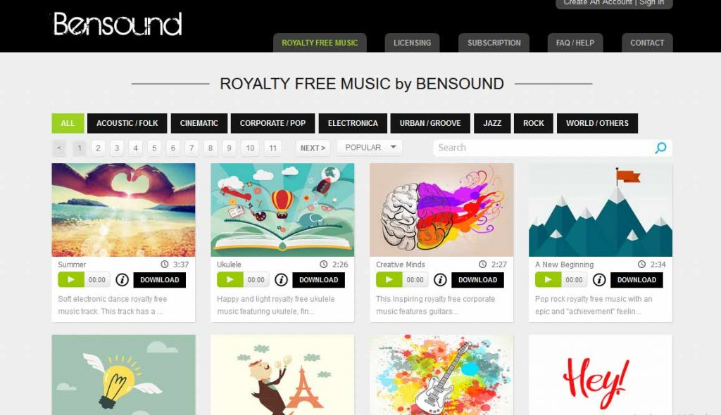 bensound merupakan situs gudang musik untuk backsound youtube