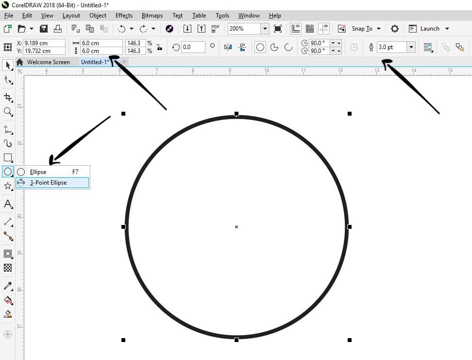 buat lingkaran didalam coreldraw stempel coreldraw Cara Membuat Stempel Di Corel