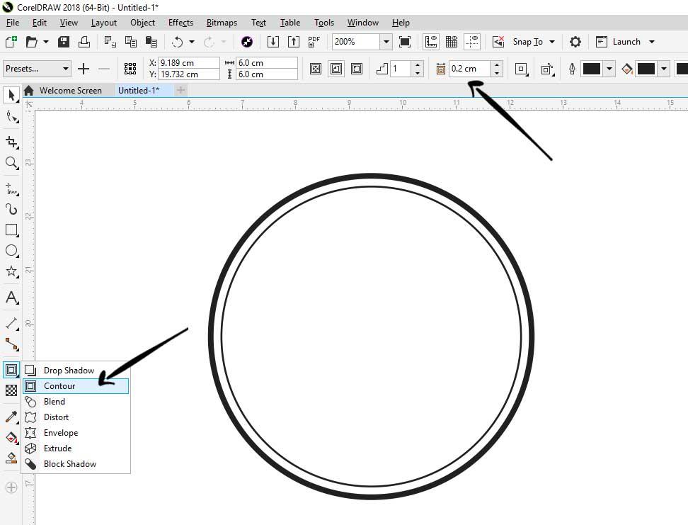 kita tambahkan countour sebagai garis dalamnya stempel coreldraw Cara Membuat Stempel Di Corel