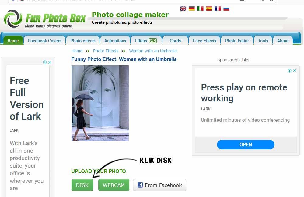 klik disk untuk memasukan foto di edit foto online