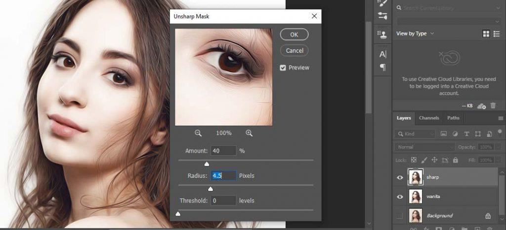 unsharp mask di photoshop cara edig gambar