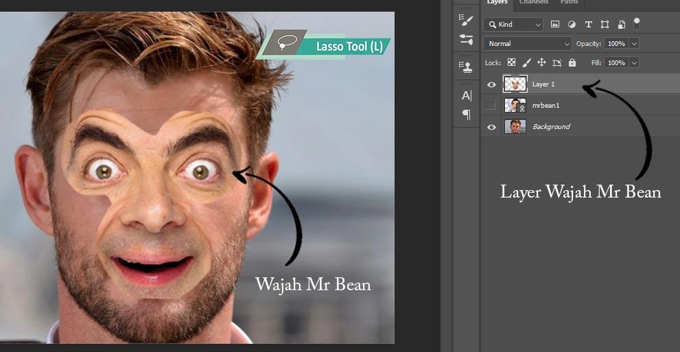 tutorial mengganti wajah photoshop cc 2020 sampai mahir dengan mr bean
