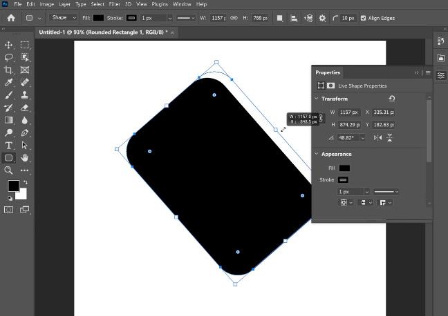 mengubah ukuran dan lengkungan shape dengan mudah kelebihan photoshop cc 2021